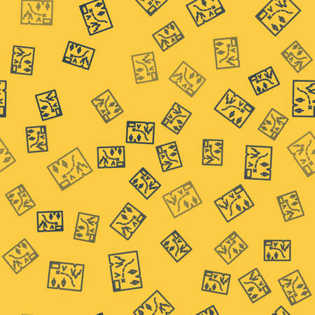 Blue line Folded map with location marker icon isolated seamless pattern on yellow background. Vector Illustration.