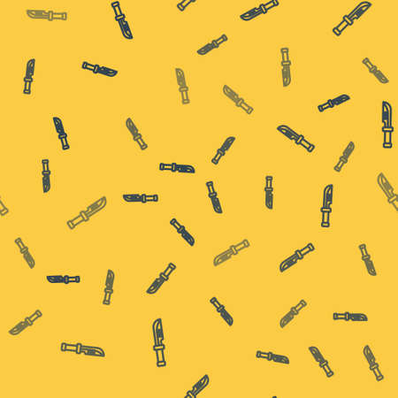 Blue line Camping knife icon isolated seamless pattern on yellow background. Vector Illustration.