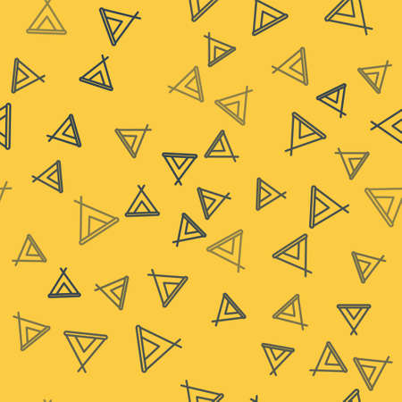 Blue line Tourist tent icon isolated seamless pattern on yellow background. Camping symbol. Vector Illustration.