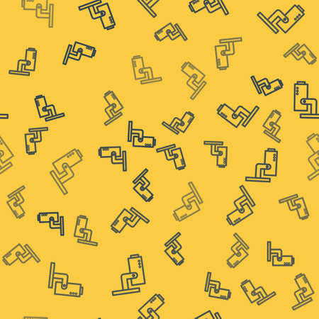 Blue line Security camera icon isolated seamless pattern on yellow background. Vector Illustration.