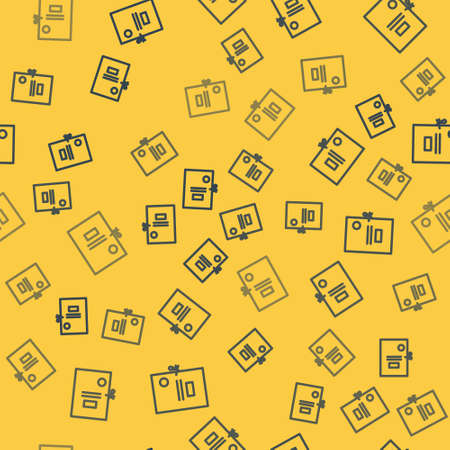 Blue line Lawsuit paper icon isolated seamless pattern on yellow background. Vector Illustration. Ilustrace