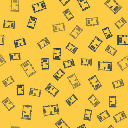 Blue line Prison cell door with grill window icon isolated seamless pattern on yellow background. Vector Illustration.
