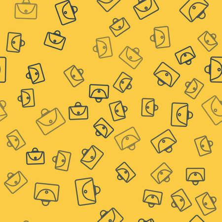 Blue line Briefcase icon isolated seamless pattern on yellow background. Business case sign. Business portfolio. Vector Illustration. Vectores