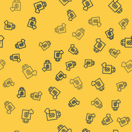 Blue line Shopping bag with heart icon isolated seamless pattern on yellow background. 8 March. International Happy Women Day. Vector Illustration.