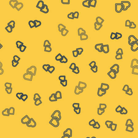 Blue line Two Linked Hearts icon isolated seamless pattern on yellow background. Romantic symbol linked, join, passion and wedding. Happy Women Day. Vector Illustration.