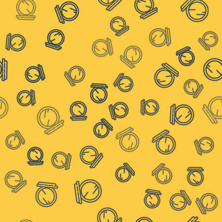 Blue line Makeup powder with mirror icon isolated seamless pattern on yellow background. 8 March. International Happy Women Day. Vector Illustration.
