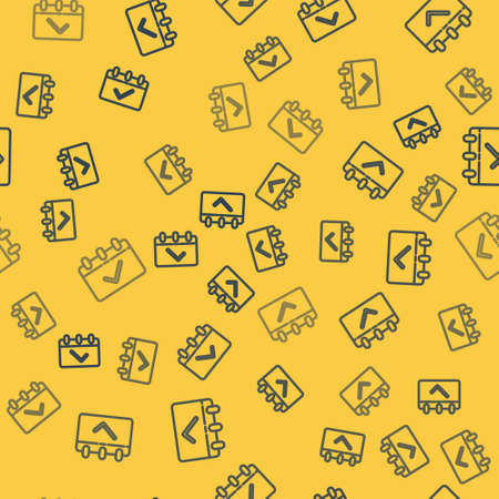 Blue line Calendar with 8 March icon isolated seamless pattern on yellow background. International Happy Women Day. Vector Illustration. Çizim