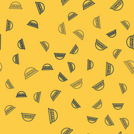 Blue line Elegant women hat icon isolated seamless pattern on yellow background. 8 March. International Happy Women Day. Vector Illustration. Vettoriali