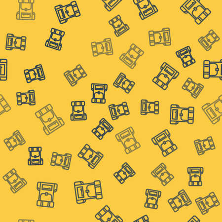 Blue line Hiking backpack icon isolated seamless pattern on yellow background. Camping and mountain exploring backpack. Vector Illustration. Vectores