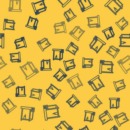 Blue line 3D printer icon isolated seamless pattern on yellow background. Vector Illustration.