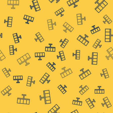 Blue line Solar energy panel icon isolated seamless pattern on yellow background. Vector Illustration.