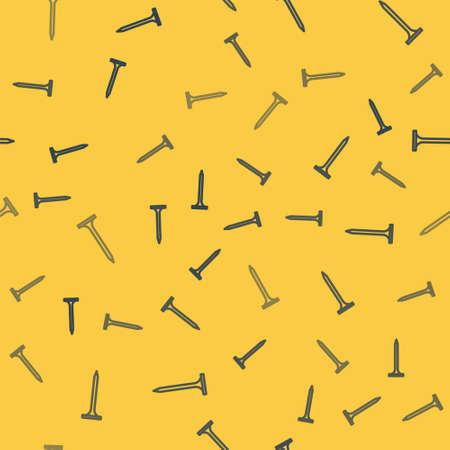 Blue line Metallic nail icon isolated seamless pattern on yellow background. Vector Illustration. Ilustrace
