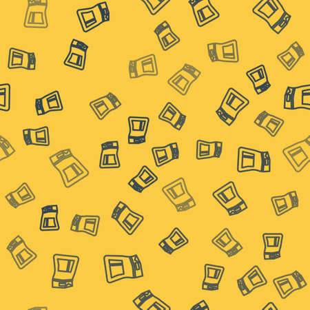 Blue line Cement bag icon isolated seamless pattern on yellow background. Vector Illustration.