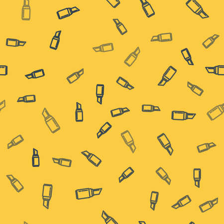 Blue line Lipstick icon isolated seamless pattern on yellow background. 8 March. International Happy Women Day. Vector Illustration.