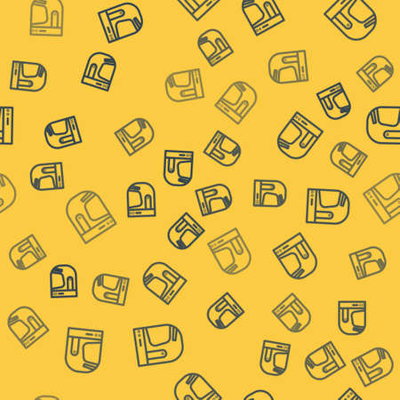 Blue line Astronaut helmet icon isolated seamless pattern on yellow background. Vector Illustration.