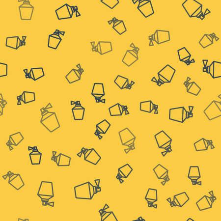 Blue line Perfume icon isolated seamless pattern on yellow background. 8 March. International Happy Women Day. Vector Illustration.