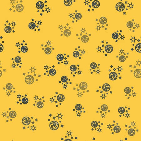 Blue line Space and planet icon isolated seamless pattern on yellow background. Planets surface with craters, stars and comets. Vector Illustration.