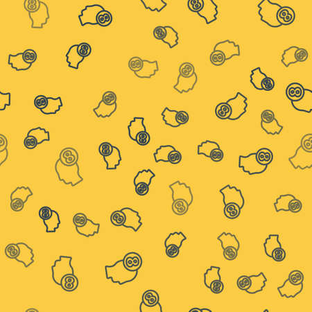 Blue line 8 March in human head icon isolated seamless pattern on yellow background. International Happy Women Day. Vector Illustration.