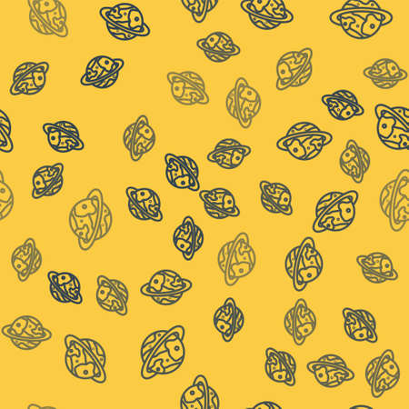 Blue line Space capsule returning to earth via parachute icon isolated seamless pattern on yellow background. Vector Illustration. Ilustrace