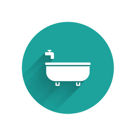 White Bathtub icon isolated with long shadow. Green circle button. Vector Illustration.