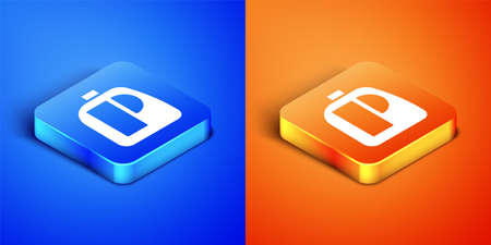 Isometric Plastic bottles for laundry detergent, bleach, dishwashing liquid or another cleaning agent icon isolated on blue and orange background. Square button. Vector Illustration.