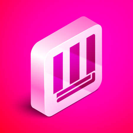 Isometric Towel stack icon isolated on pink background. Silver square button. Vector Illustration.