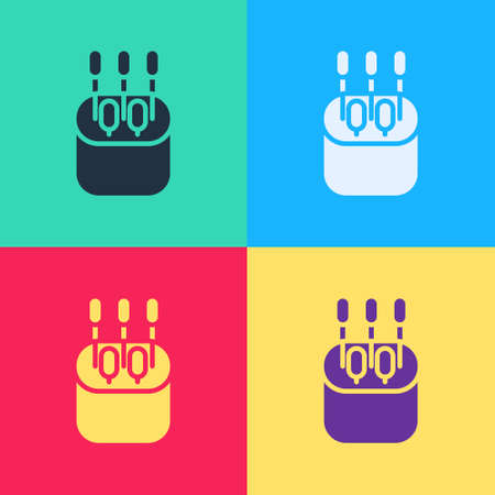 Pop art Cotton swab for ears icon isolated on color background.  Vector Illustration. 矢量图像