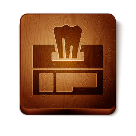 Brown Wet wipe pack icon isolated on white background. Wooden square button. Vector Illustration.