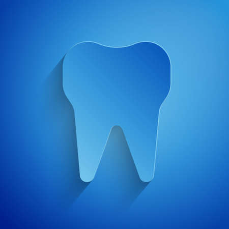 Paper cut Tooth icon isolated on blue background. Tooth symbol for dentistry clinic or dentist medical center and toothpaste package. Paper art style. Vector Illustration.