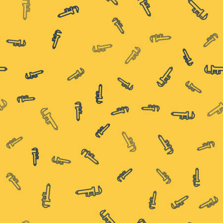 Blue line Calliper or caliper and scale icon isolated seamless pattern on yellow background. Precision measuring tools. Vector Illustration.