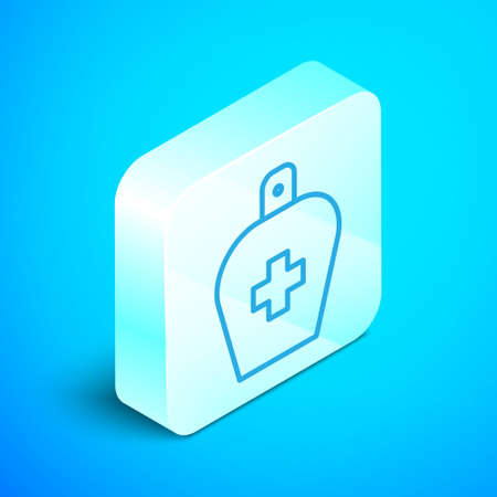 Isometric line Bottle of liquid antibacterial soap with dispenser icon isolated on blue background. Antiseptic. Disinfection, hygiene, skin care. Silver square button. Vector Illustration.