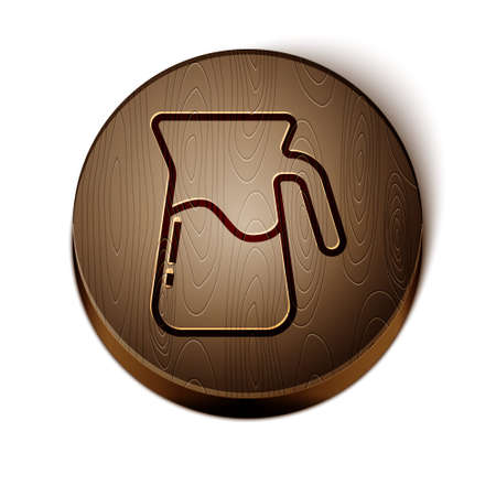 Brown line Jug glass with water icon isolated on white background. Kettle for water. Glass decanter with drinking water. Wooden circle button. Vector.