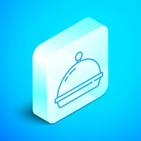 Isometric line Covered with a tray of food icon isolated on blue background. Tray and lid. Restaurant cloche with lid. Kitchenware symbol. Silver square button. Vector.