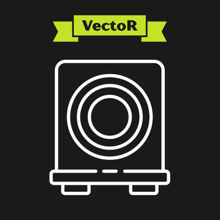 White line Electric stove icon isolated on black background. Cooktop sign. Hob with four circle burners. Vector.