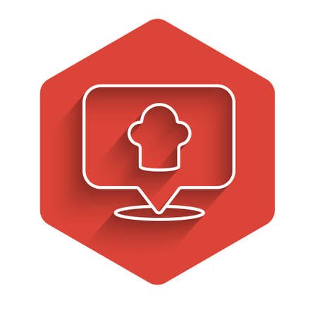 White line Chef hat with location icon isolated with long shadow. Cooking symbol. Cooks hat. Red hexagon button. Vector.