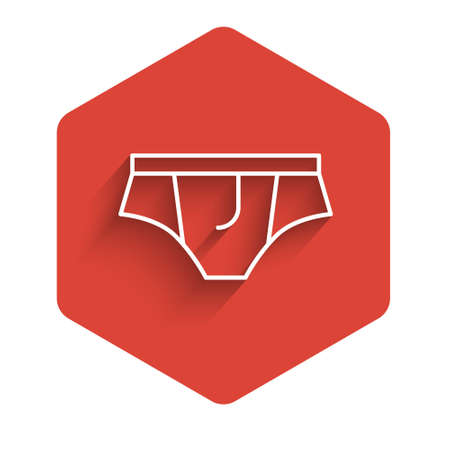 White line Underwear icon isolated with long shadow. Red hexagon button. Vector Illustration.