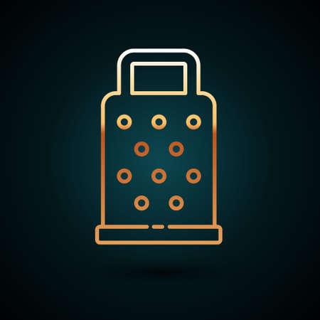 Gold line Grater icon isolated on dark blue background. Kitchen symbol. Cooking utensil. Cutlery sign. Vector. Ilustração