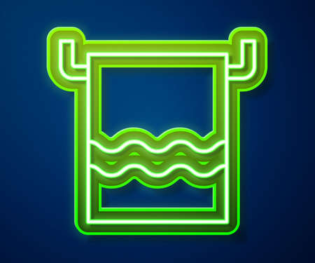 Glowing neon line Towel on a hanger icon isolated on blue background. Bathroom towel icon. Vector Illustration. 矢量图像