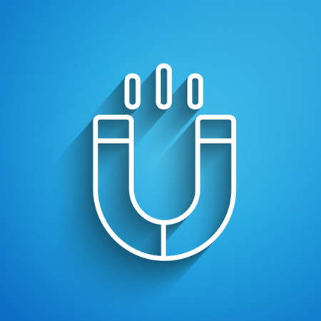 White line Magnet icon isolated on blue background. Horseshoe magnet, magnetism, magnetize, attraction. Long shadow. Vector.