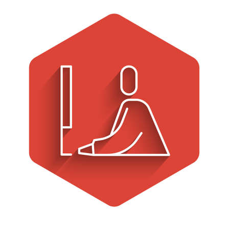 White line Student working at laptop icon isolated with long shadow. Workplace concept. Red hexagon button. Vector Illustration.