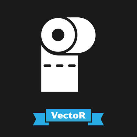 White Toilet paper roll icon isolated on black background.  Vector Illustration.