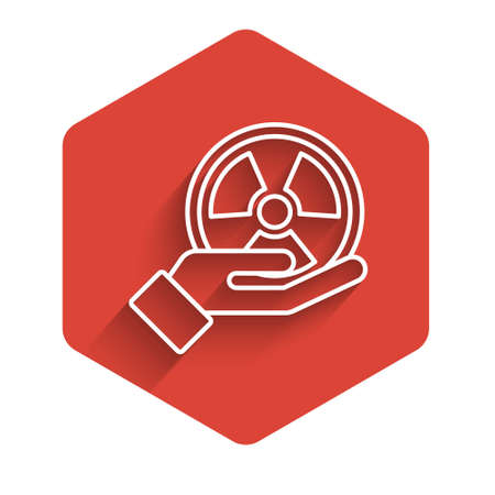 White line Radioactive in hand icon isolated with long shadow. Radioactive toxic symbol. Radiation Hazard sign. Red hexagon button. Vector.