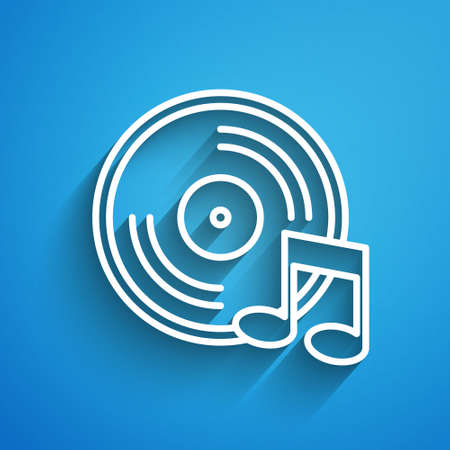 White line Vinyl disk icon isolated on blue background. Long shadow. Vector. Ilustracja