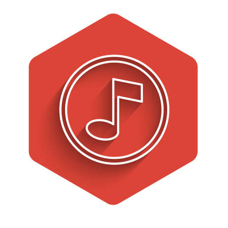 White line Music note, tone icon isolated with long shadow. Red hexagon button. Vector.