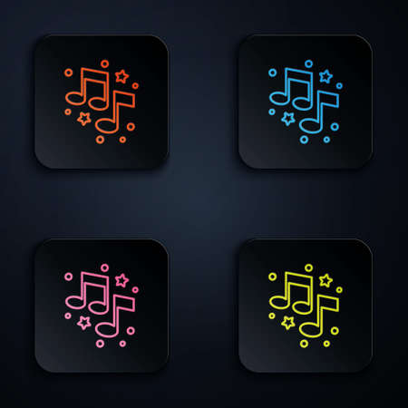 Color neon line Music note, tone icon isolated on black background. Set icons in square buttons. Vector. 矢量图像