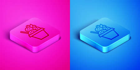 Isometric line Ice cream in the bowl icon isolated on pink and blue background. Sweet symbol. Square button. Vector.