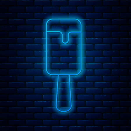 Glowing neon line Ice cream icon isolated on brick wall background. Sweet symbol. Vector.