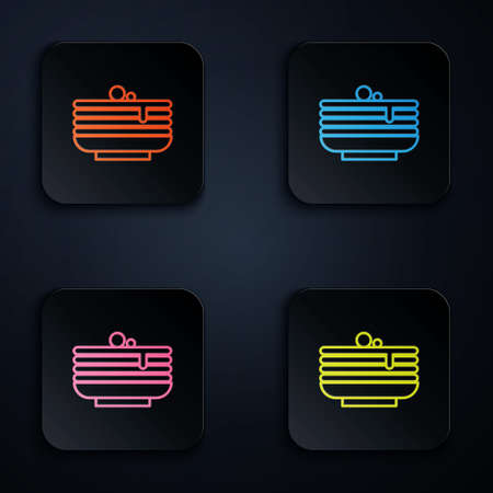 Color neon line Stack of pancakes icon isolated on black background. Baking with syrup and cherry. Breakfast concept. Set icons in square buttons. Vector.