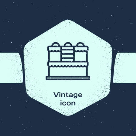 Grunge line Cake icon isolated on blue background. Happy Birthday. Monochrome vintage drawing. Vector. Çizim