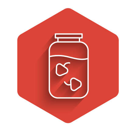 White line Strawberry jam jar icon isolated with long shadow. Red hexagon button. Vector.